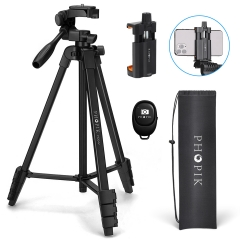 "Phopik PT204vp 55"" Lightweight Tripod with Bluetooth Remote Control for Cell Phone iPhone Camera Video"