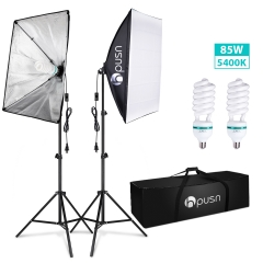 Hpusn SB02 Softbox Lighting Kit (2 Packs) for Professional Photography & Home Studio Continuous