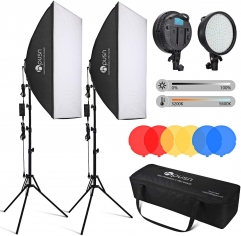 Hpusn SB02 Pro Max 24x36 inches Softbox Lighting Kit (2 Packs), LED 48W 3 Colors Modes Dimmable Light for Photography & Home Studio