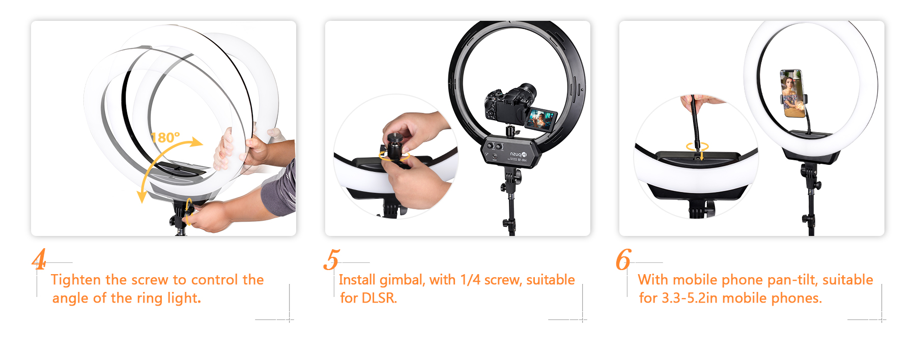 Hpusn HR-18 Ring Light Installation Instructions