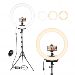 Hpusn HR-18 18 Inch LED Ring Light Kit for Illumination Taking and Record Youtube Tiktok Vlog Facebook Etc. Video and Live Streaming, Makeup, Selfie