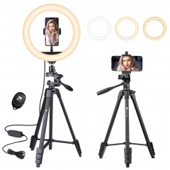 Hpusn HT420R 10.3 Inch LED Selfie Ring Light Kit for Cell Phone iPhone Camera Photography
